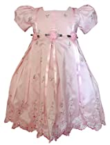 ST234 Brand New Girl Pink Easter Holiday embroidery Dress (4T)