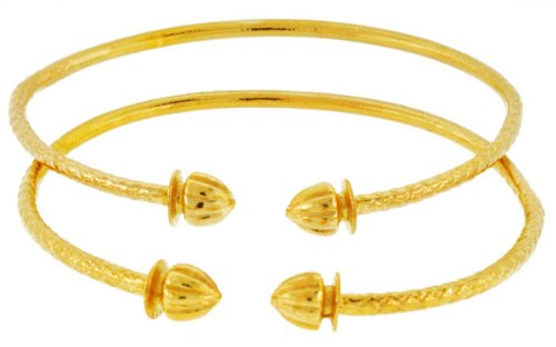 Solid Sterling Silver West-Indian Bangle Set Plated with 14K Gold 32 Grams