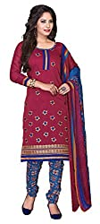 Dress Material Chanderi Dark Pink Embroidered + Lace Unstitched