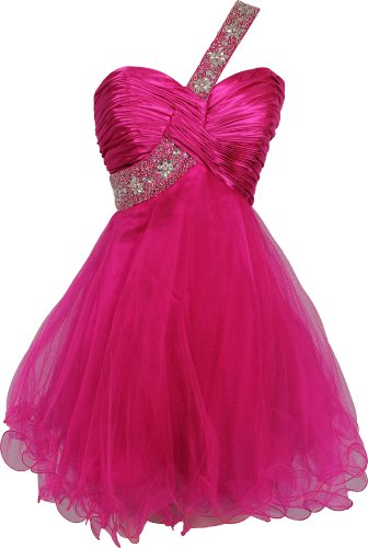 Goddess Beaded One-Shoulder Mesh Party Dress Prom Gown, Size: Small, Color: Fuchsia