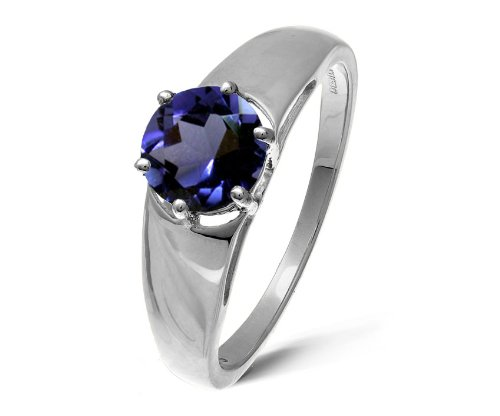 Modern 9 ct White Gold Ladies Solitaire Engagement Ring with Iolite 1.00 ct