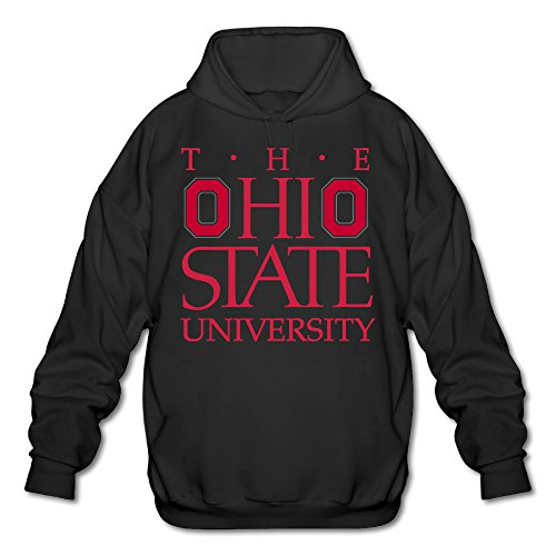 PHOEB Mens Sportswear Drawstring Hooded Sweatshirt,Ohio State University Black XX-Large