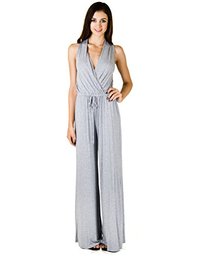 Tua Inc. Juniors Jumpsuit With A Drawstring Waist And Wide Leg Pants (Large, Heather Gray) front-1070804