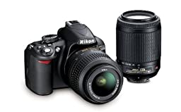 Nikon D3100 DSLR Camera with 18-55mm VR, 55-200mm Zoom Lenses (Black) (Discontinued by Manufacturer)