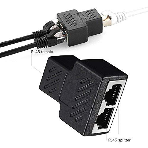 New 1 To 2 Ways RJ45 LAN Ethernet Network Cable Dual Splitter Connector Adapter