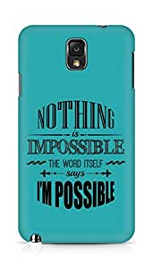 AMEZ Nothing is Impossible Back Cover For Samsung Galaxy Note 3