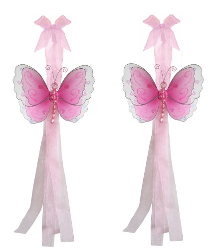 Dark Pink (Fuschia) Multi-Layered Butterfly Curtain Tieback Pair / Set - holder tiebacks tie backs girls nursery room decor decorations girls bedroom party shower