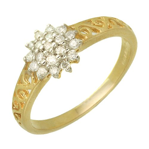 9ct Yellow Gold Ladies Flower Cluster Shape Ring with Fancy Shoulders Set wit...