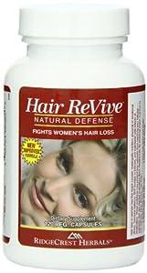 RidgeCrest Herbals Hair Revive Natural Defense Fights Women's Hair Loss Veg Caps 120