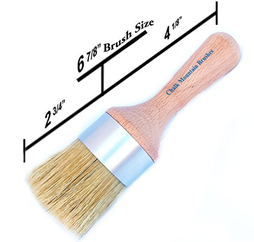 Chalk Mountain Brushes NEW LOOK - Large Round Boar Hair Bristle DIY Furniture Wax or Stenciling Brush (Waxing Brush compare prices)
