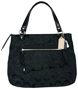 Coach's Coach Poppy Metallic Signature Sateen Glam Bag Tote Black Only For $228.00