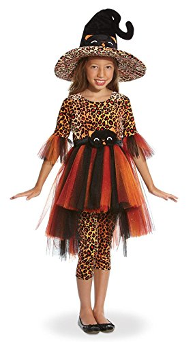 Children's Orange Cora the Kitty Witch Costume- Size Large (9-10)