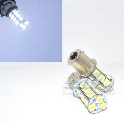2Pc Pair 1156 Bay15S White (6000K Ultra White) Led Replacement Tower Light Bulbs 18 Smd 5050 12V