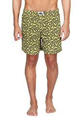Nuteez Green Printed Boxers For Men
