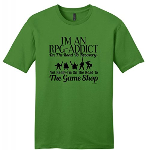 Rpg Gamer Addict On The Road To Recovery Game Shop Young Mens T-Shirt Small Kiwi Green