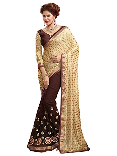 Lovely Look Latest collection of Sarees in Georgette & Jacquard Fabric & in attractive Beige & Brown Color