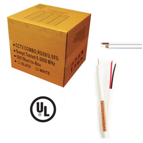 1000 ft. RG59 Siamese CCTV Combo Coaxial Cable White - 20AWG RG59 + 18/2 18AWG Power