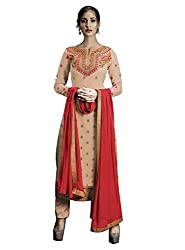 khodiyar Women Cream georgette semi-stiched suit