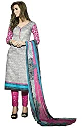 DARPAN TEXTILES Ethnicwear Women's Dress Material(DTTANYA754_Grey_Free Size)