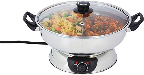 4.4 Qt Divided Electric Hot Pot *** Product Description: 4.4 Qt Divided Electric Hot Potfeatures Exterior Mirror Finish; Adjustable Temperature Control; Phenolic Knob And Handles; See-Thru Glass Lid; And Non-Slip Feet. Ul Certification. Cooking S ***