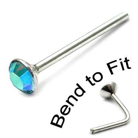 Sterling Silver Swarovski Crystal Nose Stud. Aqua AB 2mm round gem. TDi-ST2 single stud
