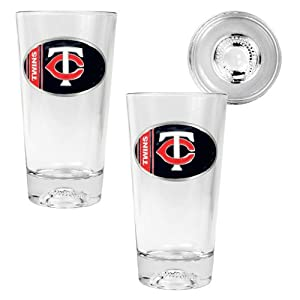 MLB Minnesota Twins Two Piece Pint Ale Glass Set with Baseball Bottom - Oval Logo by Great American Products