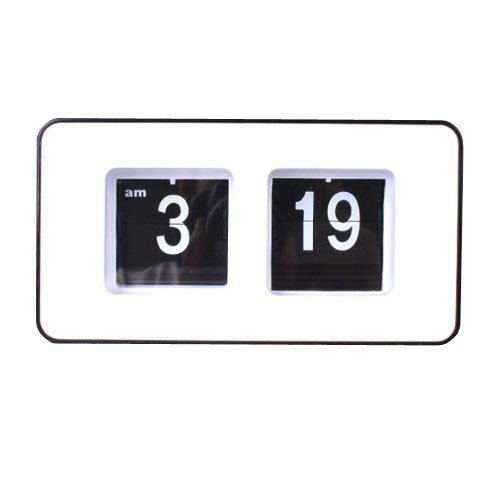Retro Auto Flip Desk or Wall Clock - Black / Large White Numbers on Black Background