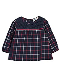 Beebay Infant-girl 100% Cotton Woven Navy Check Lace Top (D4716209403050_Navy_0-3 Months)