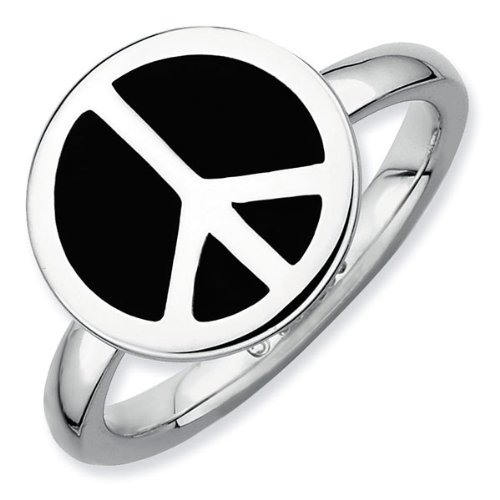 Black Peace Sign Stackable Ring - Size 7.5