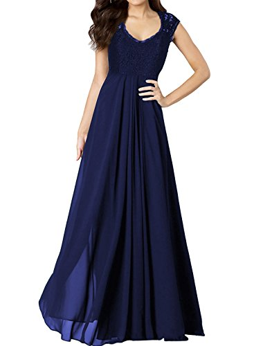 Miusol Women's Casual Deep- V Neck Sleeveless Vintage Maxi Black Dress (Large, Navy Blue)
