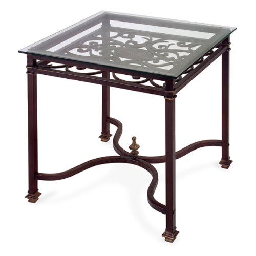 Cheap 24″ Glass Top Elegantly Sculpted Wrought Iron Square End Table (B0038QFTHM)