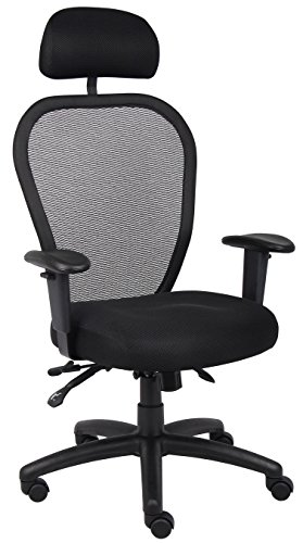 Boss Mesh Chair With 3 Paddle Mechanism And Headrest front-4097
