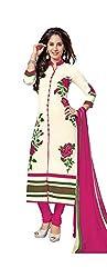 RK Fashion Womens Chiffon Un-Stitched Salwar Suit Dupatta Material ( Rajguru-Rimzim-9046-B-Pink-Free Size )