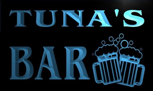 W130374-B Tuna'S Name Home Bar Pub Beer Mugs Cheers Neon Light Sign