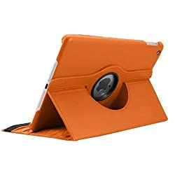 KolorFish iRotation 360 degree Rotating Leather Flip Stand iPad Case Cover For iPad Air (Orange)