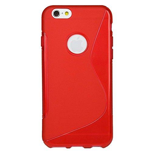 Apple iPhone6 Plus [ 5.5inch ] TPU グリップカバーケース ( アイフォン iPhone 6 5.5 インチ 対応 ) 薄型軽量24g / 滑止め加工 / ソフトフィットモデル / 半透明クリア 【MY WAY 出品カラー全7色】 (iPhone6 Plus (5.5inch), Design S Red (赤))