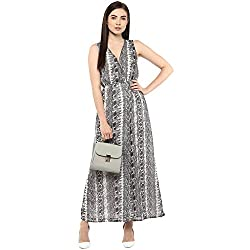 Grey Georgette Snake Printed Long Dress