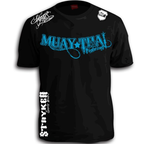Muay Thai Fighting Blue White Logos Black Mma Ufc Tapout Bjj T-Shirt Brand New (Large)