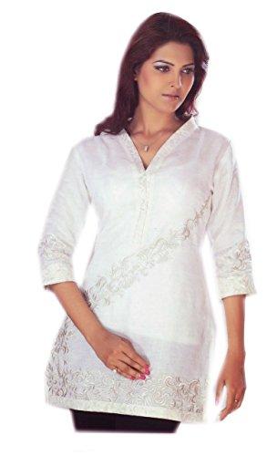 Jayayamala-Pure-White-Fashion-Designer-Tunic-with-Halter-Neck-for-Ladies-Shirt