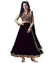 Neets Fashion Black Net Anarkali Semi Stitched Suit