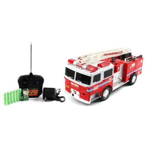 Big Size Quality Electric Full Function Super Express Fire RTR RC Truck w/ Extending Crane Remote Control w/ Flashing Emergency Sirens and Lights