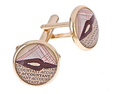JJ Weston gold plated Accountant cufflinks with presentation box. Made in the U.S.A