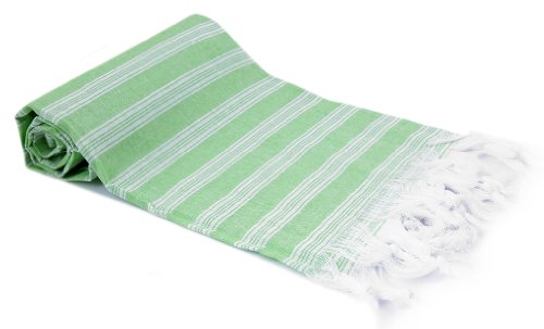 Extra Light Cotton Towel- White Stripes On Pistachio Green front-4722