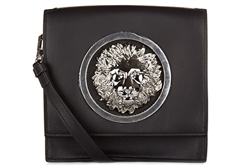 Versus Versace borsa donna a tracolla pelle borsello logo nero