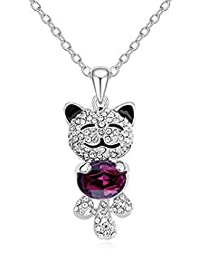 FLORAY Woman's Cute Cat Pendant Necklace, Beautiful Zircon, Bling Purple Crystal, 18K White Gold Plated. Beautiful Gift for Girls, Free Blue Jewellery Box. Chain Length:45cm