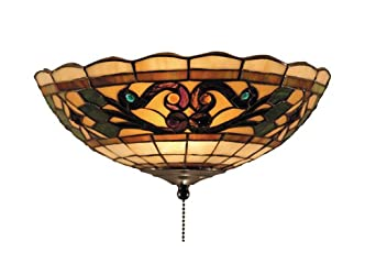 Elk 990-E Tiffany Buckingham 2-Light Fan Kit/Ceiling Mount, 4-1/2-Inch, Vintage Antique With Bone Tiffany Style Glass