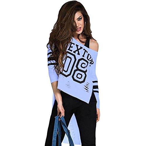meinice Stampa Elegante Rosa a maniche lunghe Retro Shirt Blue Medium