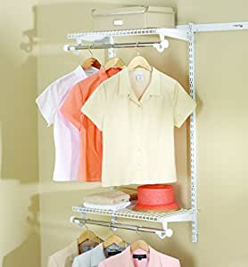Rubbermaid Configurations Add-On Shelving and Hanging Clothes Kit, White, 48-Inch, FG3H9200WHT