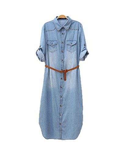 Feelmaker Distressed Rivet Denim Long Shirt Dress