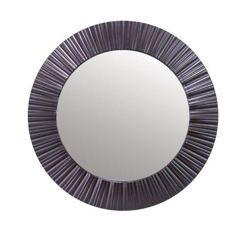 Kiera Grace Groove Round Mirror, 20-Inch, Black